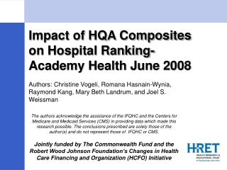 Impact of HQA Composites on Hospital Ranking-Academy Health June 2008