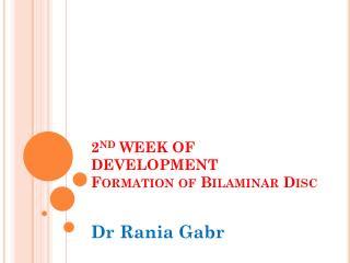 2 nd  WEEK OF DEVELOPMENT Formation of  Bilaminar  Disc