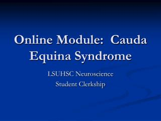 Online Module:  Cauda Equina Syndrome