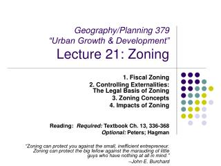 "Geography/Planning 379  ""Urban Growth & Development"" Lecture 21: Zoning"