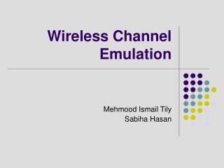 Wireless Channel Emulation