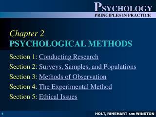 Chapter 2 PSYCHOLOGICAL METHODS