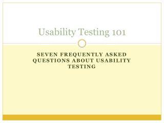 Usability Testing 101