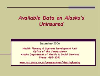 Available Data on Alaska's Uninsured