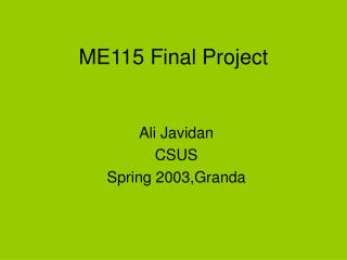 ME115 Final Project