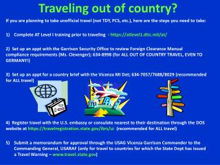 Traveling out of country?