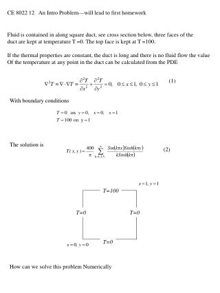 CE 8022 12   An Intro Problem—will lead to first homework