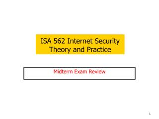 ISA 562 Internet Security  Theory and Practice