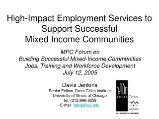 High-Impact Employment Services to Support Successful Mixed Income Communities
