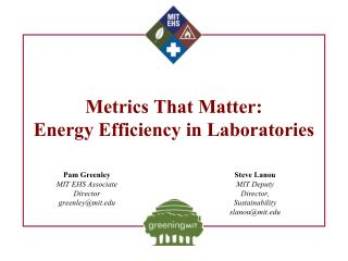 Metrics That Matter: Energy Efficiency in Laboratories
