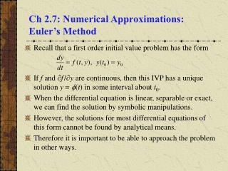 Ch 2.7: Numerical Approximations:  Euler's Method
