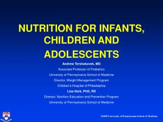 NUTRITION FOR INFANTS, CHILDREN AND ADOLESCENTS