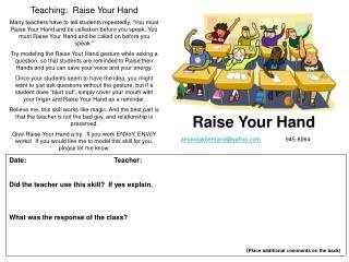 Teaching:  Raise Your Hand