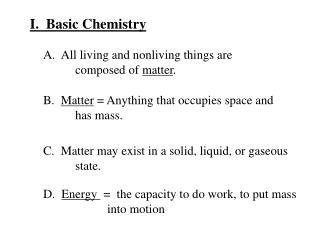 I.  Basic Chemistry
