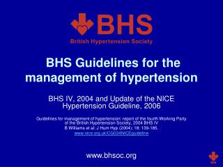 BHS Guidelines for the management of hypertension