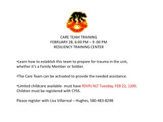 CARE TEAM TRAINING FEBRUARY 28, 6:00 PM – 9 :00 PM RESILIENCY TRAINING CENTER
