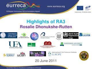 Highlights of RA3 Rosalie Dhonukshe-Rutten