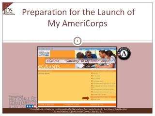 Preparation for the Launch of My AmeriCorps
