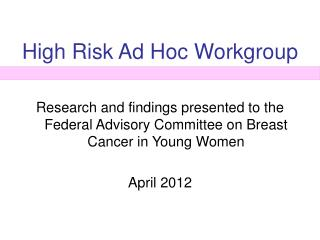 High Risk Ad Hoc Workgroup