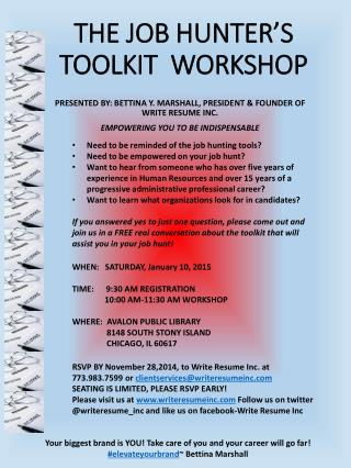 THE JOB HUNTER'S TOOLKIT  WORKSHOP