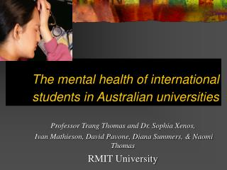 The mental health of international students in Australian universities