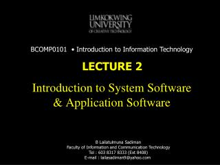 Introduction to System Software & Application Software