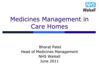 Medicines Management in Care Homes