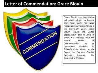 Letter of Commendation - Grace Blouin