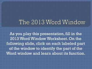 The 2013 Word Window