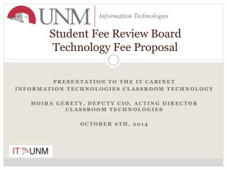 Student Fee Review Board Technology Fee Proposal