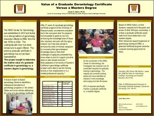 Value of a Graduate Gerontology Certificate Versus a Masters Degree