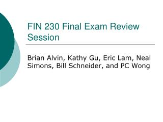 FIN 230 Final Exam Review Session
