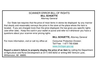 SCANNER ERROR BILL OF RIGHTS BILL SCHUETTE Attorney General