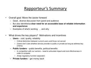 Rapporteur's Summary