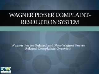 Wagner Peyser Complaint-Resolution System