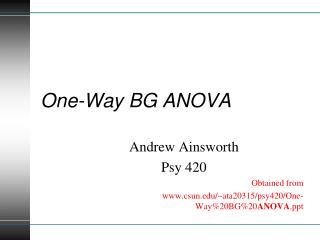 One-Way BG ANOVA
