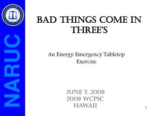 An Energy Emergency Tabletop Exercise