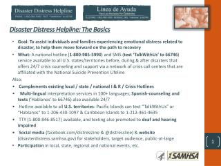 Disaster Distress Helpline: The Basics