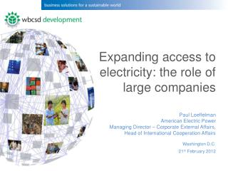 Expanding access to electricity: the role of large companies Paul Loeffelman