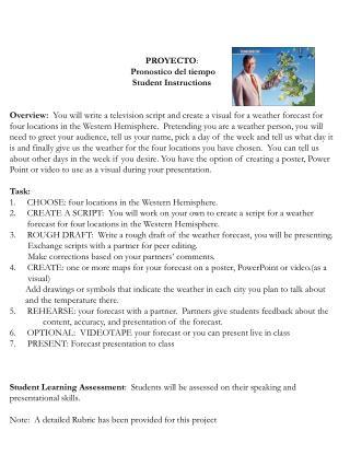 PROYECTO :  Pronostico  del  tiempo Student Instructions