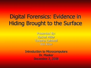 Digital Forensics: Evidence in Hiding Brought to the Surface
