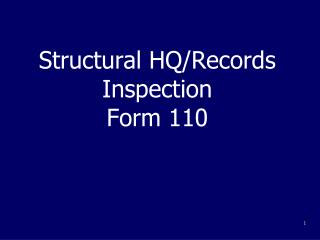 Structural HQ/Records Inspection Form 110