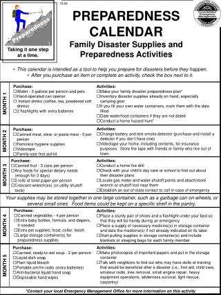 PREPAREDNESS CALENDAR Family Disaster Supplies and Preparedness Activities