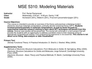 MSE 5310: Modeling Materials