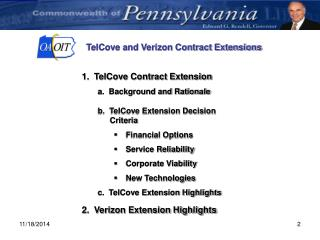 TelCove and Verizon Contract Extensions