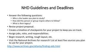 NHD  Guidelines and Deadlines