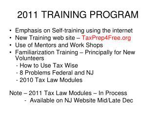 2011 TRAINING PROGRAM