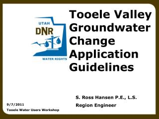 Tooele Valley Groundwater Change Application Guidelines