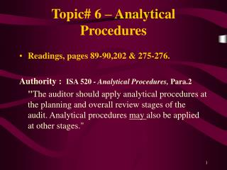 Topic# 6 – Analytical Procedures