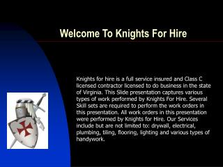 Welcome To Knights For Hire